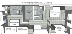 2e verdieping : 8 slaapplaatsen