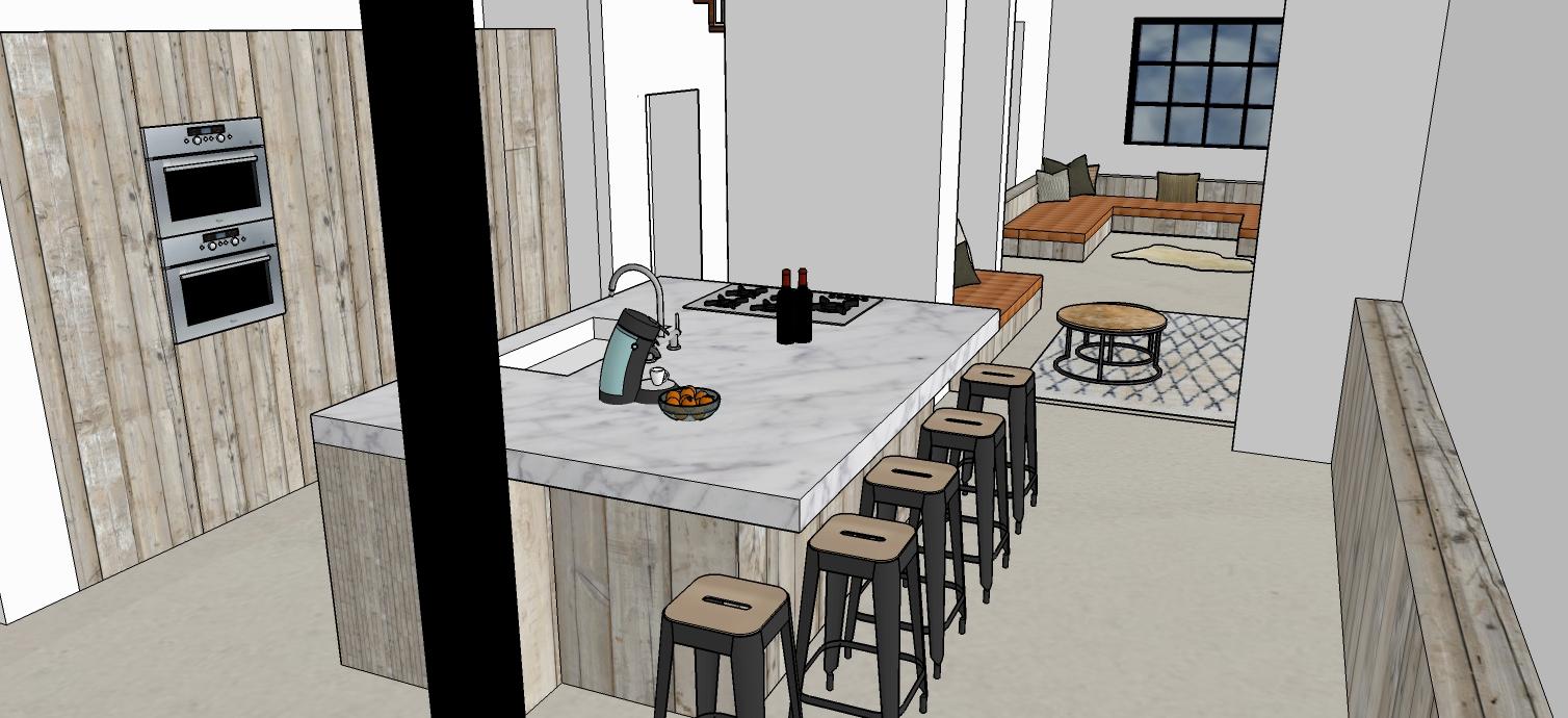 Keuken Te Huur : Zicht vanuit keuken naar leefruimte met zitput ...